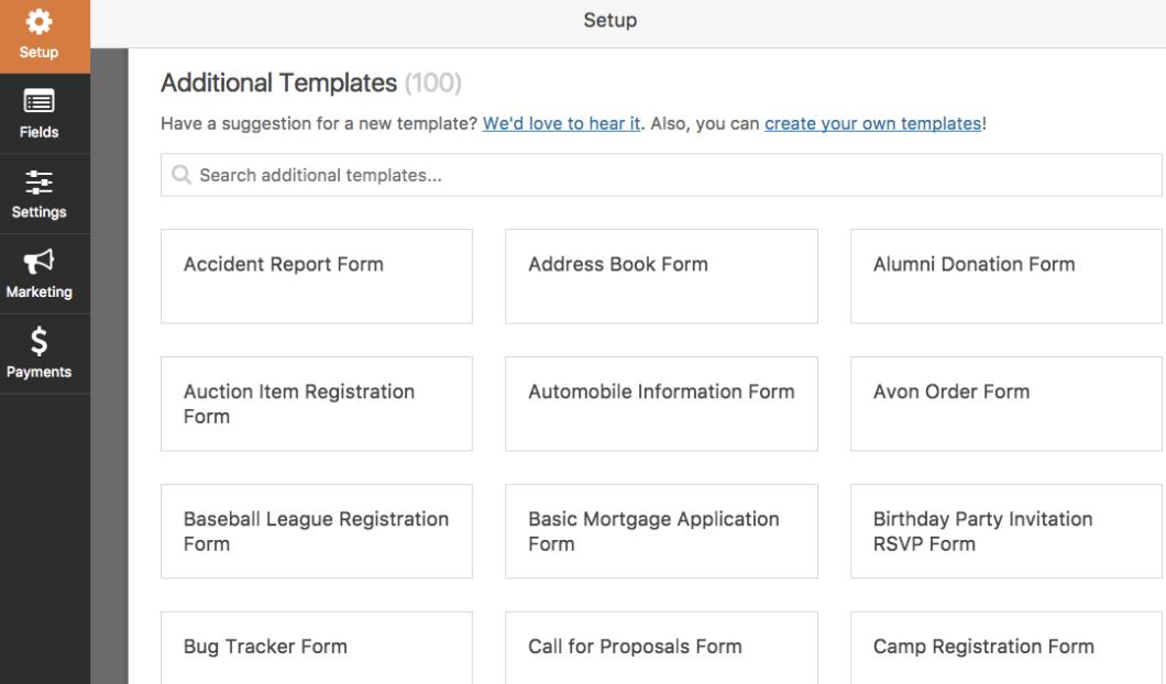 wpform additional templates