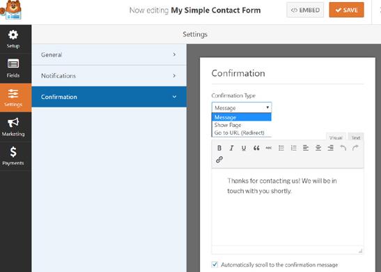WPForms confirmation settings