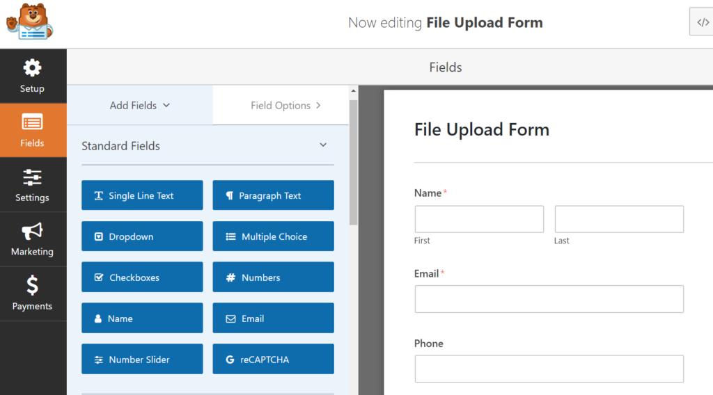 edit wpform's file upload form