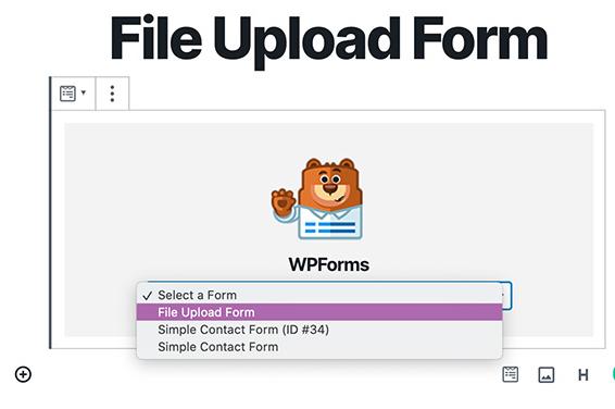 file upload form in drop-down menu