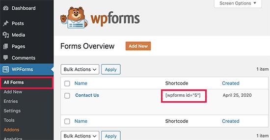 copy WPForms shortcode
