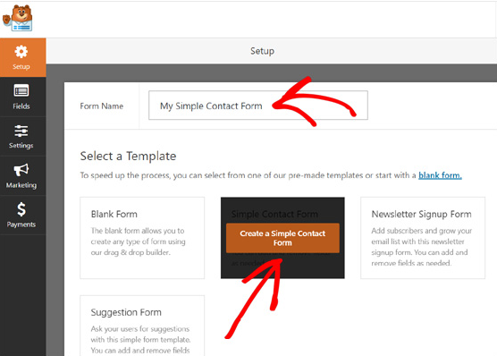 create simple contact form WPForms