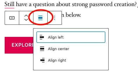 button align