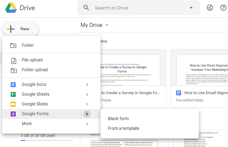 create a new Google Form survey