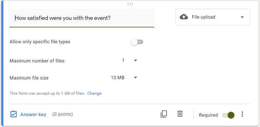 Google Form survey file upload