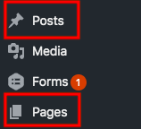 posts and pages section