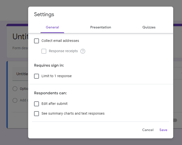 survey general settings