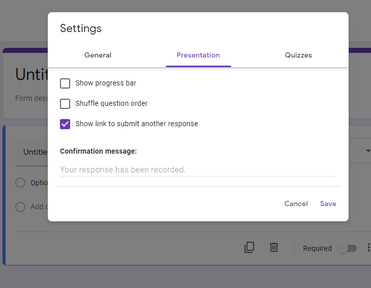 survey presentation settings
