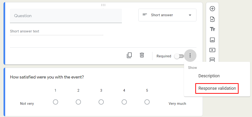 Google Form survey short answer validation