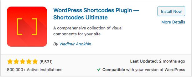short code ultimate plugin