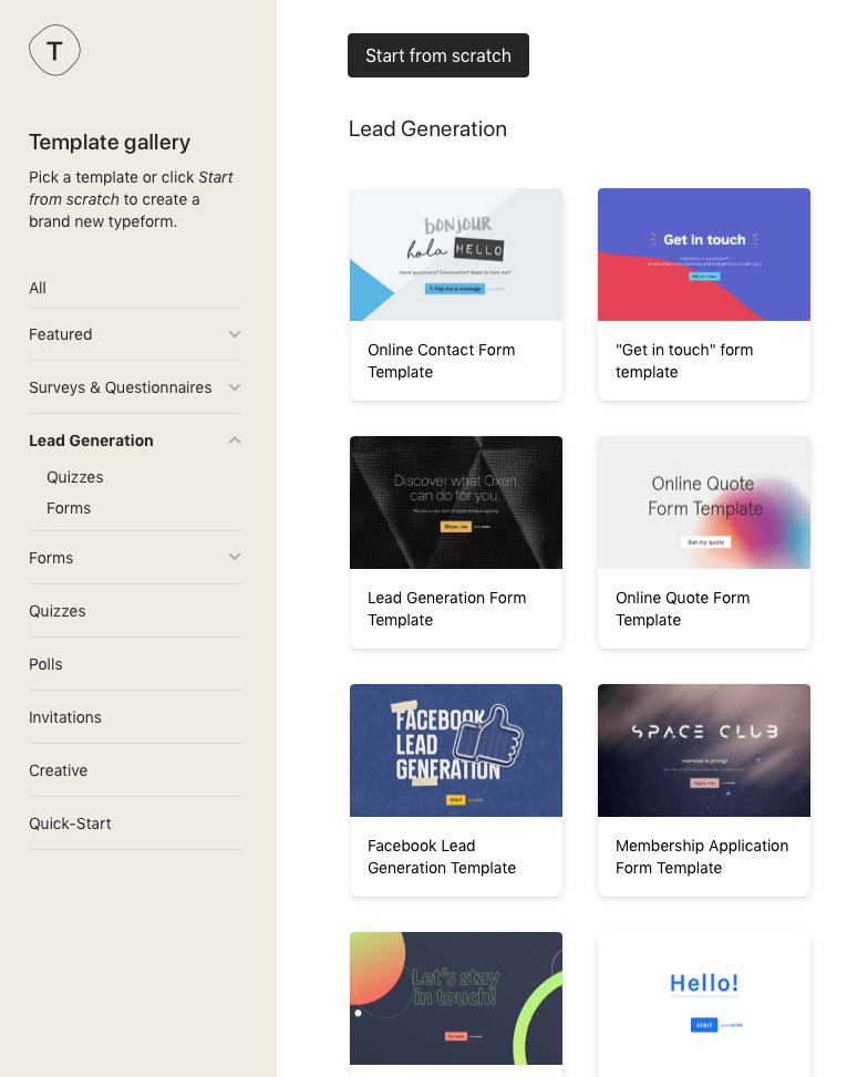 Typeform template gallery