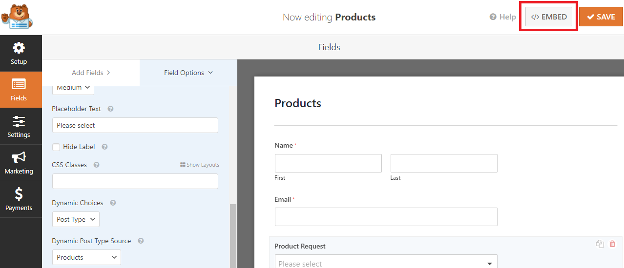 embed forms to page