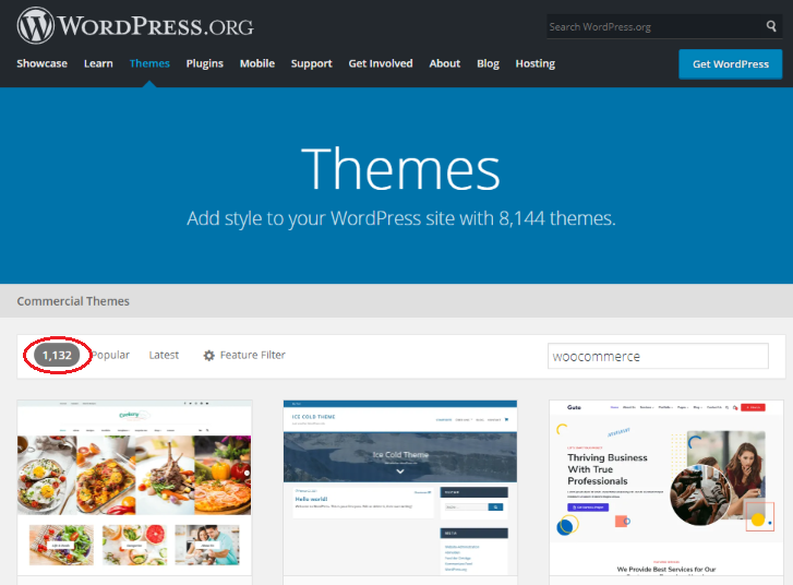 1,132 WooCommerce themes on WordPress theme directory