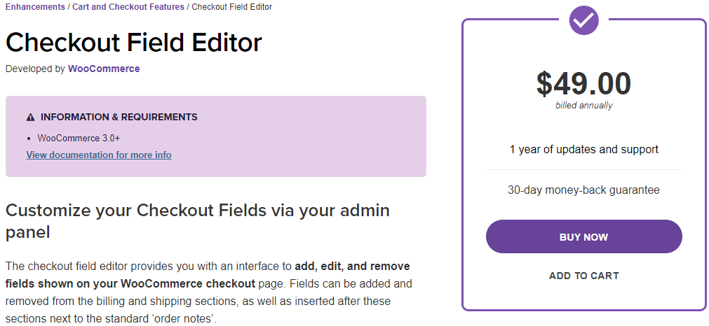 Checkout Field Editor by WooCommerce