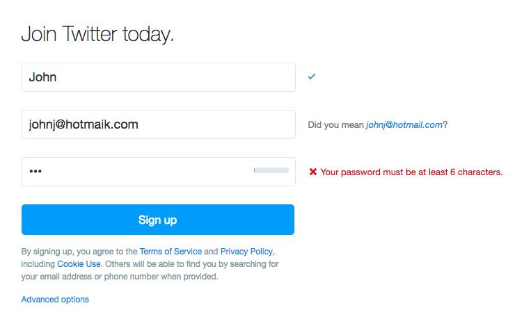 inline validation in Twitter's form fields