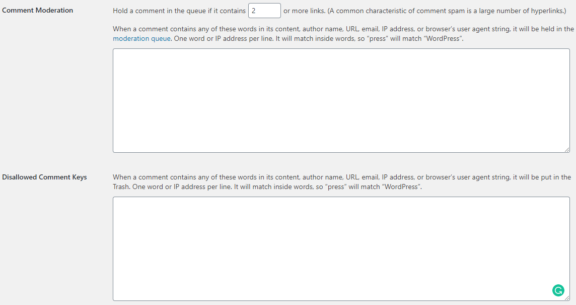 moderate and disallow WordPress comments
