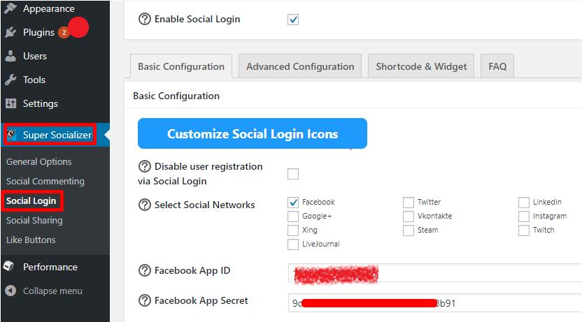 paste Facebook app ID and secret
